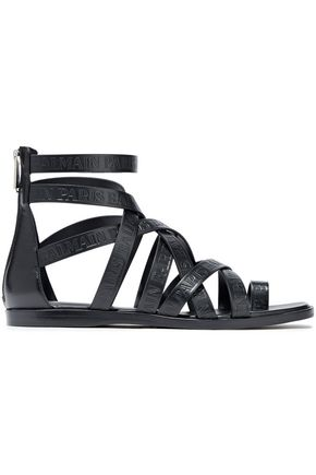 BALMAIN Embossed leather sandals