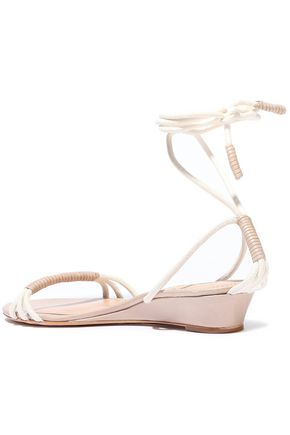 SCHUTZ Leather-trimmed cord wedge sandals