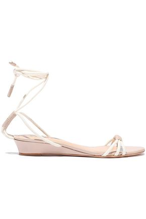 SCHUTZ Leather-trimmed cord wedge sandals