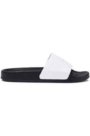 BALMAIN Embossed leather slides