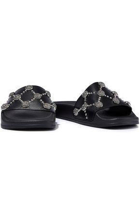 BALMAIN Embellished leather slides