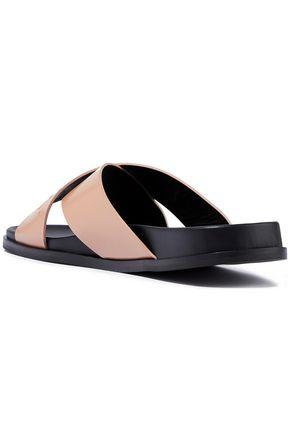 BALMAIN Embossed leather slides