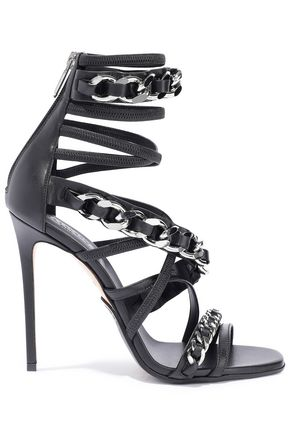 BALMAIN Chain-trimmed leather sandals