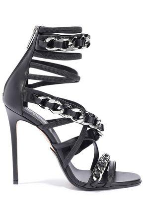 BALMAIN Chain-trimmed leather sandals