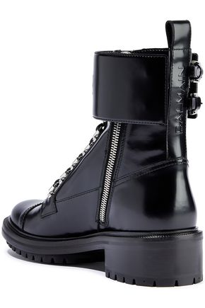 BALMAIN Embossed glossed-leather ankle boots
