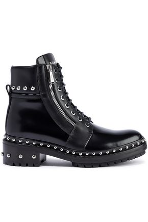 BALMAIN Studded glossed-leather ankle boots