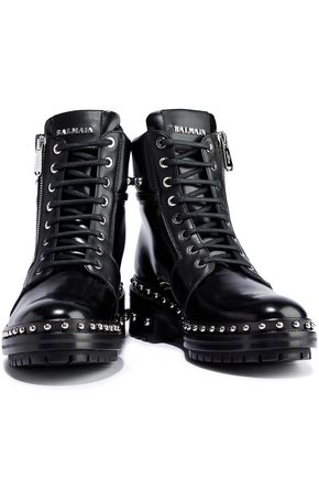 298c4cef4d BALMAIN Studded glossed-leather ankle boots
