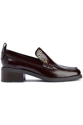 SEE BY CHLOÉ Nora eyelet-embellished glossed-leather loafers