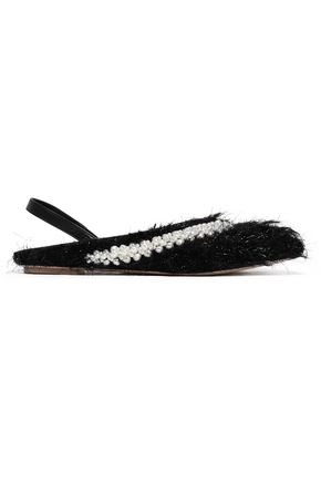 SIMONE ROCHA Embellished faux shearling and leather slingback point-toe flats
