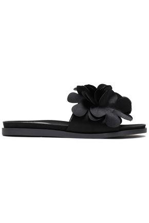 SIMONE ROCHA Floral-appliquéd satin slides