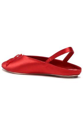 SIMONE ROCHA Bead-embellished satin slingback point-toe flats