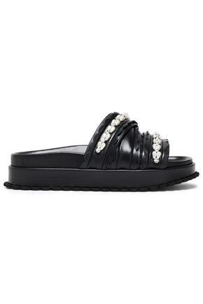 SIMONE ROCHA Bead-embellished leather slides