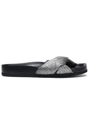 IRO Kaely twisted metallic canvas slides