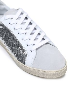 IRO Sequin-paneled suede and leather sneakers