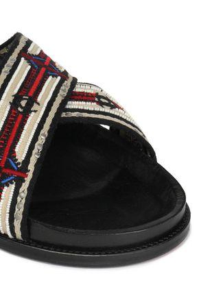 IRO Embellished woven slides