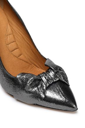 IRO Escaknot bow-embellished metallic cracked-leather pumps