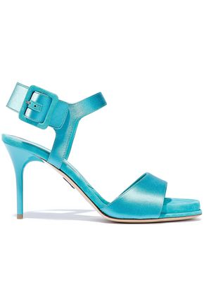 PAUL ANDREW Kalida suede-trimmed satin sandals