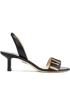PAUL ANDREW Longo printed calf hair-paneled leather slingback sandals