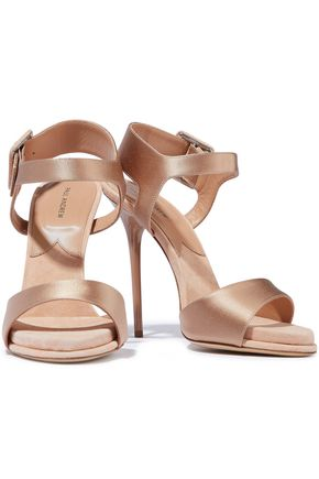 Paul Andrew PAUL ANDREW WOMAN KALIDA SUEDE-TRIMMED SATIN SANDALS BLUSH