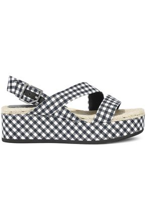 RAG & BONE Megan gingham cotton and linen-blend platform sandals