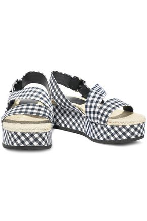 RAG & BONE Megan gingham canvas platform slingback sandals
