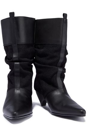 STELLA McCARTNEY Faux leather and woven boots