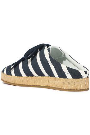 RAG & BONE RB1 raffia-trimmed striped canvas slip-on sneakers