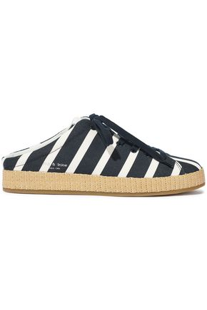 e409b04687720f RAG & BONE RB1 raffia-trimmed striped canvas slip-on sneakers