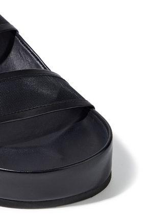 RAG & BONE Evin buckled leather-trimmed mesh platform slides