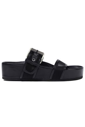 RAG & BONE Evin buckled leather-trimmed mesh platform slides