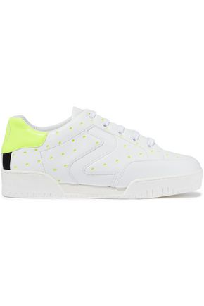 STELLA McCARTNEY Neon-trimmed laser-cut faux leather sneakers