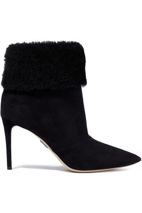 PAUL ANDREW Banner 85 shearling-paneled suede ankle boots