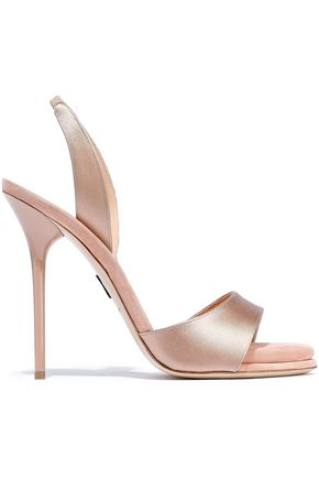PAUL ANDREW Suede-trimmed satin sandals