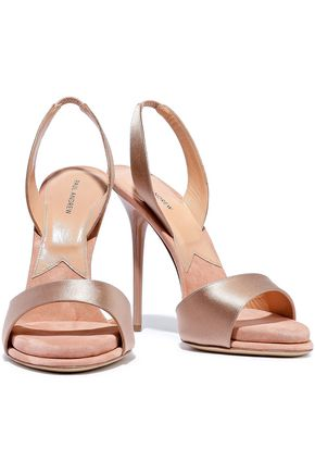 4fc1730aa07 PAUL ANDREW Suede-trimmed satin sandals