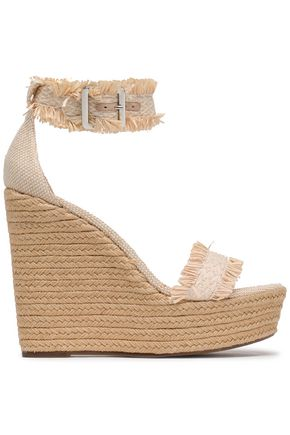 SCHUTZ Fringed raffia and woven wedge espadrille sandals
