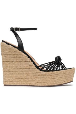 SCHUTZ Knotted leather wedge espadrille sandals