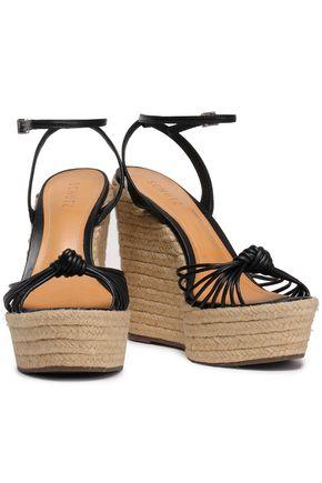 SCHUTZ Knotted leather wedge espadrille sandals