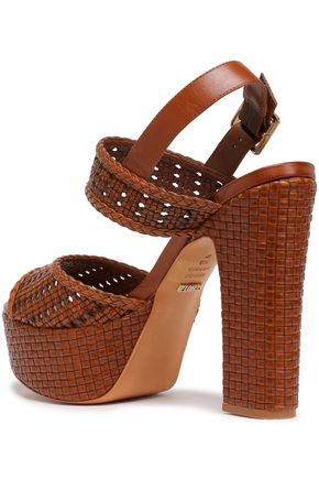 SCHUTZ Woven leather platform sandals