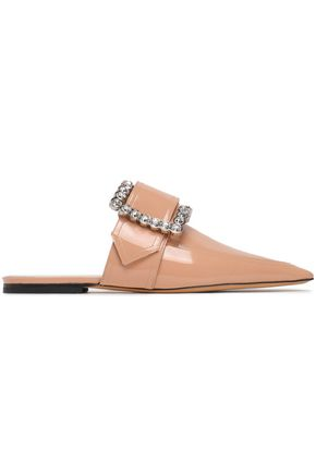 MAISON MARGIELA Buckled embellished patent-leather slippers