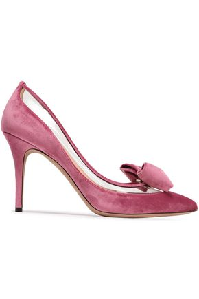 VALENTINO GARAVANI Bow-embellished velvet and PVC pumps