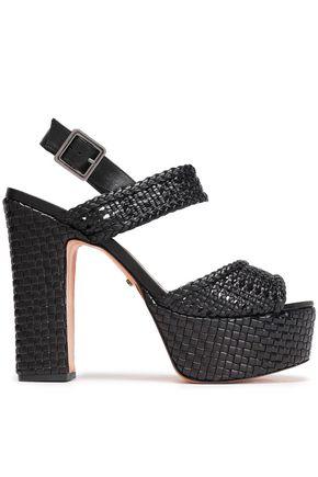 SCHUTZ Braided leather platform sandals