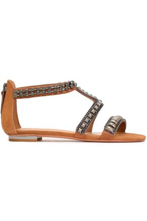 SCHUTZ Embellished suede sandals