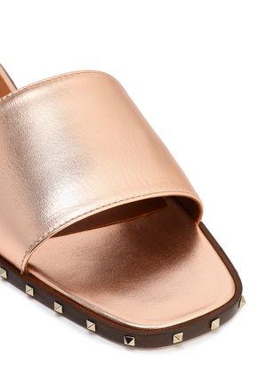 VALENTINO GARAVANI Studded metallic leather slides