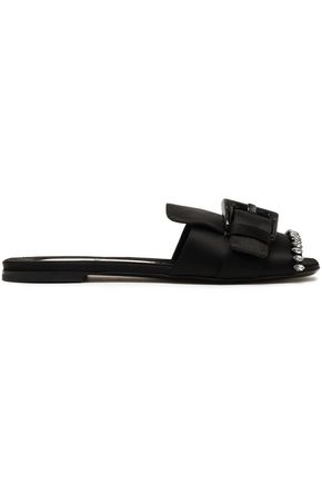 N°21 Crystal-embellished buckled satin slides