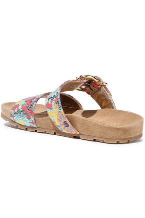 PRADA Buckle-detailed brocade sandals