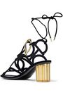 SALVATORE FERRAGAMO Vinci cutout metallic-trimmed suede sandals