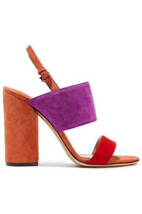 SALVATORE FERRAGAMO Elba color-block suede slingback sandals