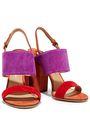 SALVATORE FERRAGAMO Elba color-block suede slingback sandals