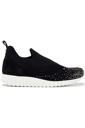 SALVATORE FERRAGAMO Lesmo crystal-embellished neoprene and suede slip-on sneakers
