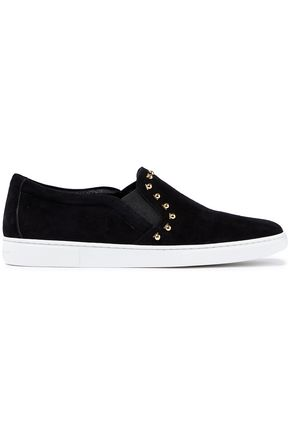 SALVATORE FERRAGAMO Spargi studded suede slip-on sneakers